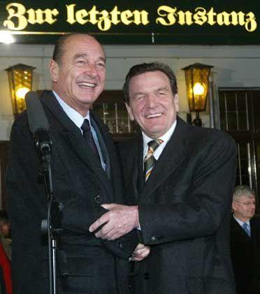 Im Anti-Kriegskurs vereint: Jacques Chirac und Gerhard Schröder in Berlin