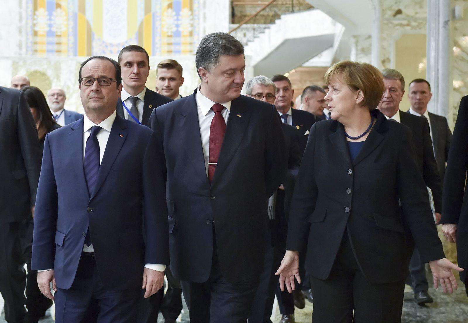 Francois Holland, Petro Poroschenko und Angela Merkel