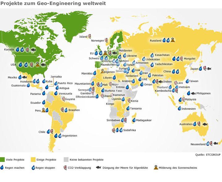 Geo-Engineering-Projekte (bitte Hochklicken für eine Legende): Unerwünschte Wirkungen
