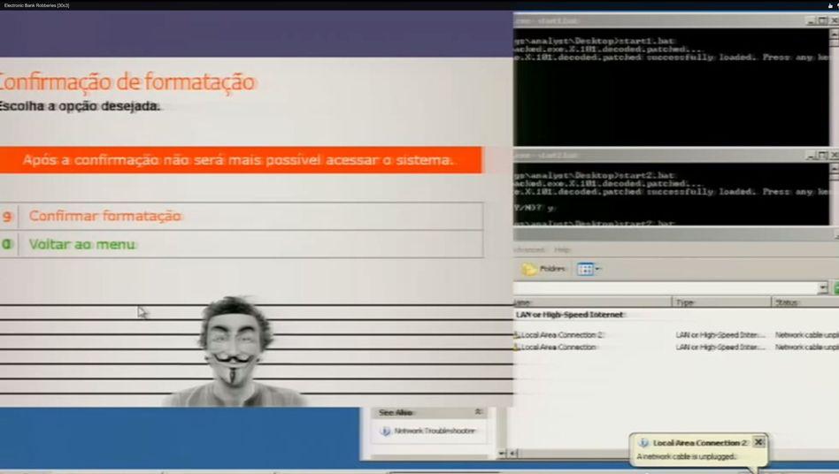 Menü der Geldraub-Software: Mit diesem Menü lässt sich das Programm entfernen