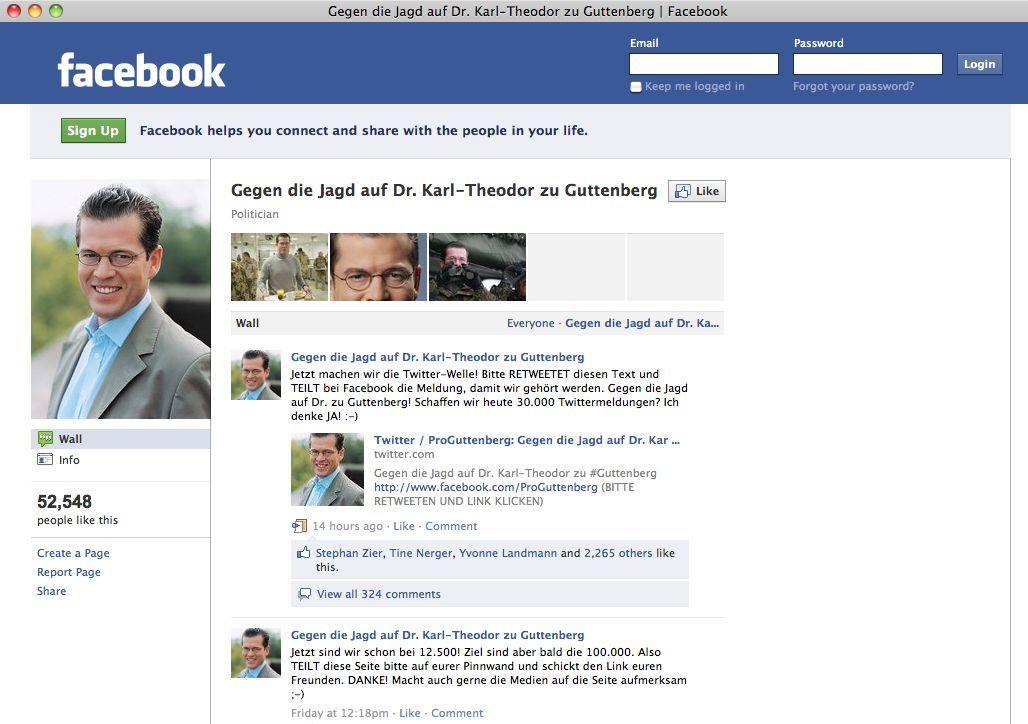 EINMALIGE VERWENDUNG SCREENSHOT Facebook / Guttenberg / gegen die Jagd