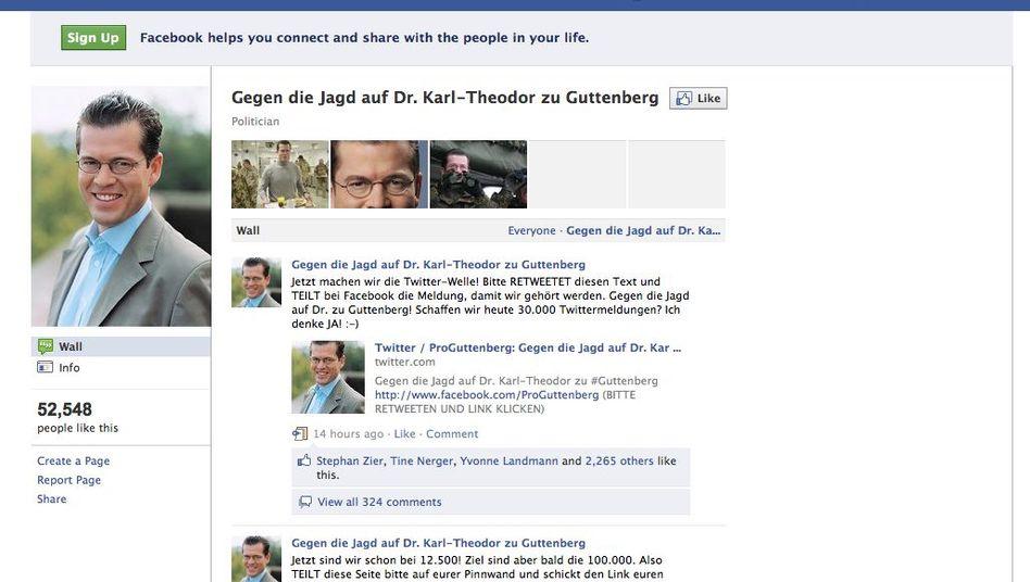 Facebook-Seite von Guttenberg-Unterstützern: Mehr als 50.000 Fans in zwei Tagen
