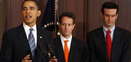 Obama mit Finanzminister Geithner und Budgetchef Orszag