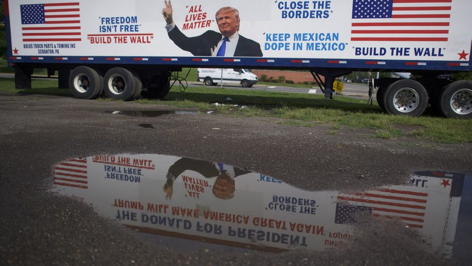 A truck promoting Donald Trump in Scranton, Pennsylvania