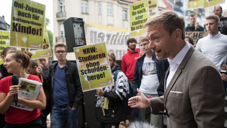 FDP-Chef Christian Lindner, Demonstranten