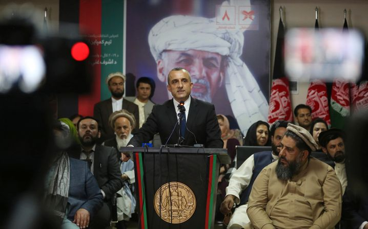 Vice President Amrullah Saleh briefs journalists in Kabul in 2019.