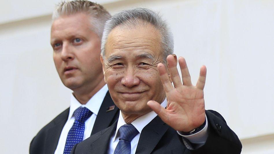 Liu He, Vizeministerpräsident von China, verlässt ein Treffen mit dem US-Finanzminister und dem Handelsbeauftragten der USA