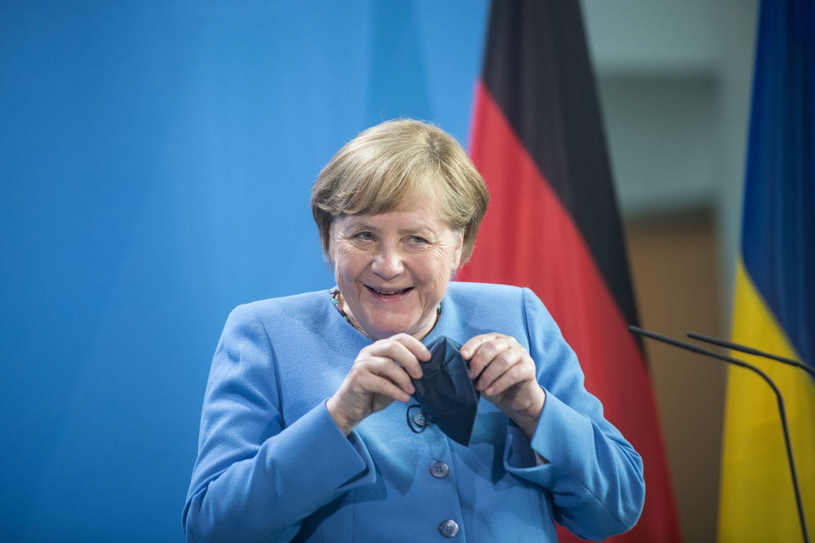 German Chancellor Angela Merkel meets Ukrainian President Volodymyr Zelensky