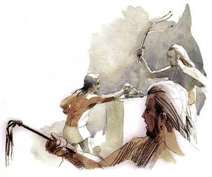 Schläge auf die Hand: Der Ritus diente als Vorbereitung auf das Kriegerleben