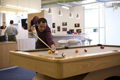 Everyday life at Google is portrayed as being very relaxed, just like on a university campus.