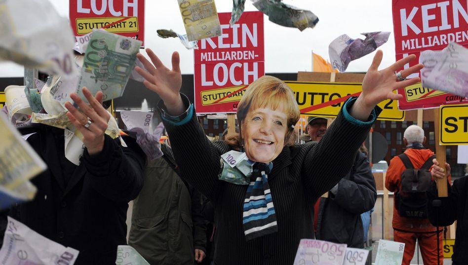 Stuttgart-21-Gegner auf dem Parteitag der CDU: Mehrkosten und Zeitverzögerungen