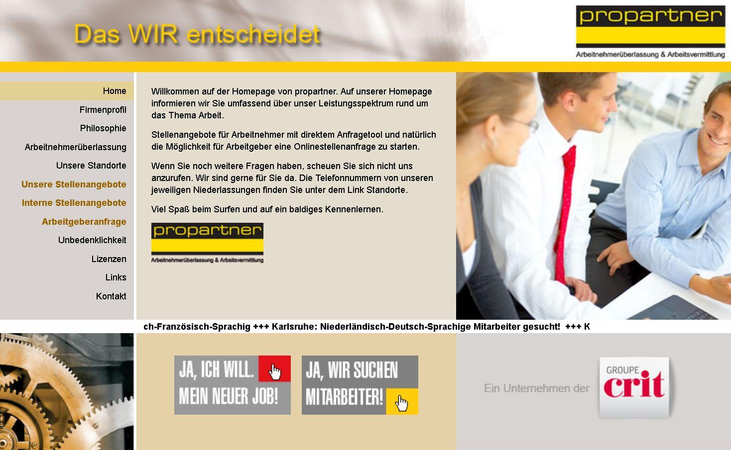 """Screenshot Propartner / Slogan """"Das Wir entscheidet"""""""
