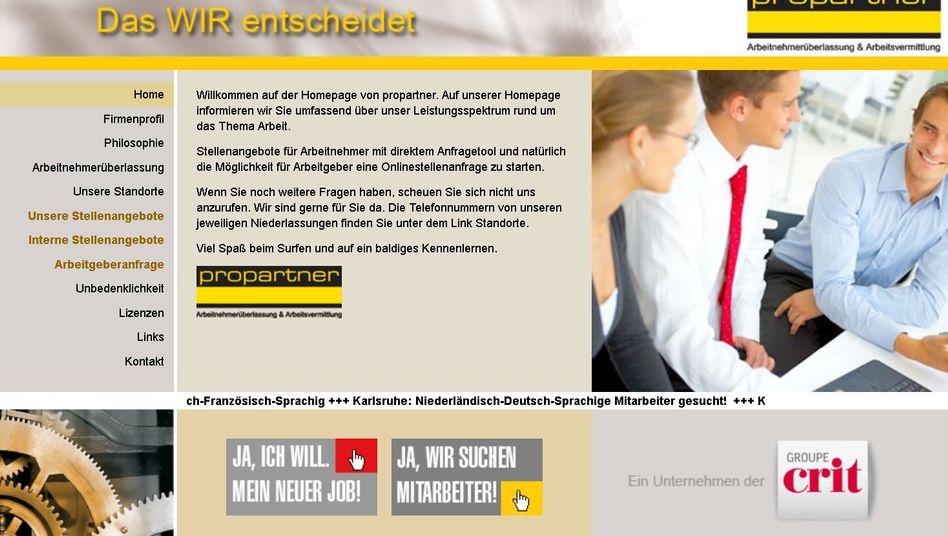 Screenshot der Leiharbeitsfirma-Webseite: Nachteil, mit der SPD in Verbindung gebracht zu werden