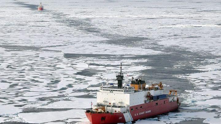 A US Coast Guard ship breaking through Arctic ice last year.