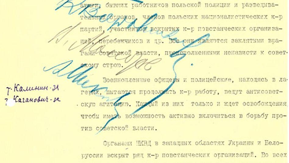 """Auszug aus einer veröffentlichten Katyn-Akte: """"Das ist unsere Pflicht"""""""
