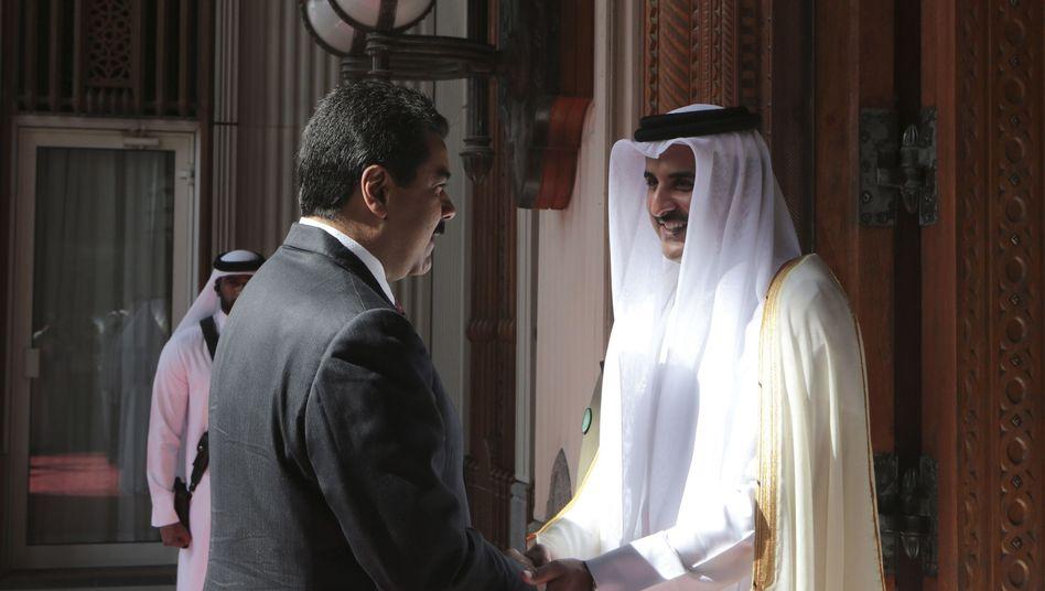 Venezolanischer Staatschef Maduro, Scheich Hamad Al Thani (Katar): Ringen um Stabilisierung des Ölpreises