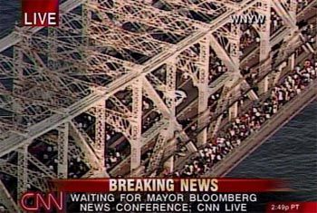 Bilder wie beim Marathon: Heimweg über die Brooklyn Bridge