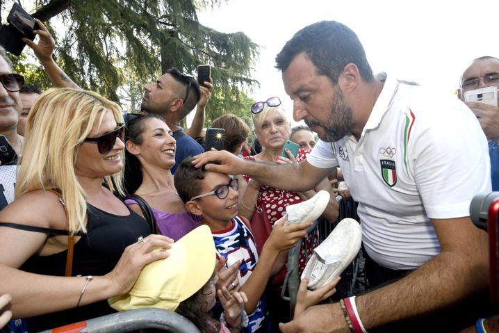 Matteo Salvini bei einem Besuch in Bibbiano