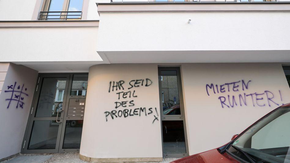 Graffiti gegen Wohnungsnot (in Leipzig)