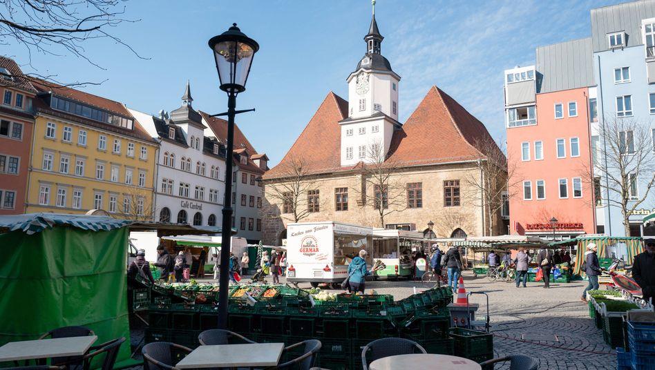Marktplatz in Jena: In der Stadt in Thüringen soll eine neue Corona-Teststrategie erprobt werden