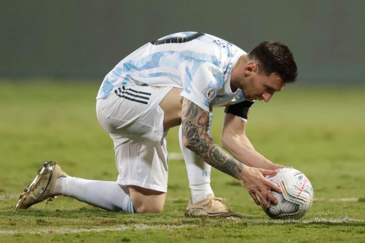 Messi vor seinem Treffer zum 3:0