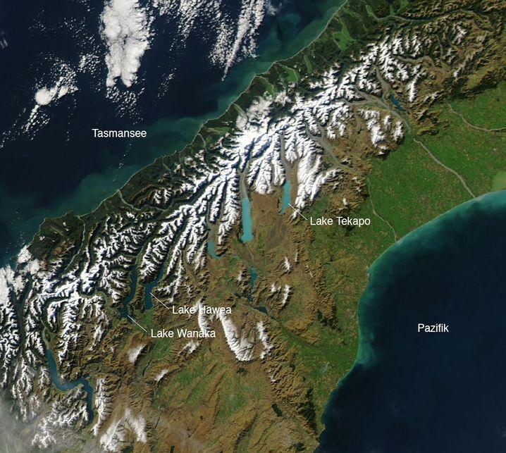 Türkise Seen Tekapo, Pukaki, Ohau und Benmore (Bildmitte)
