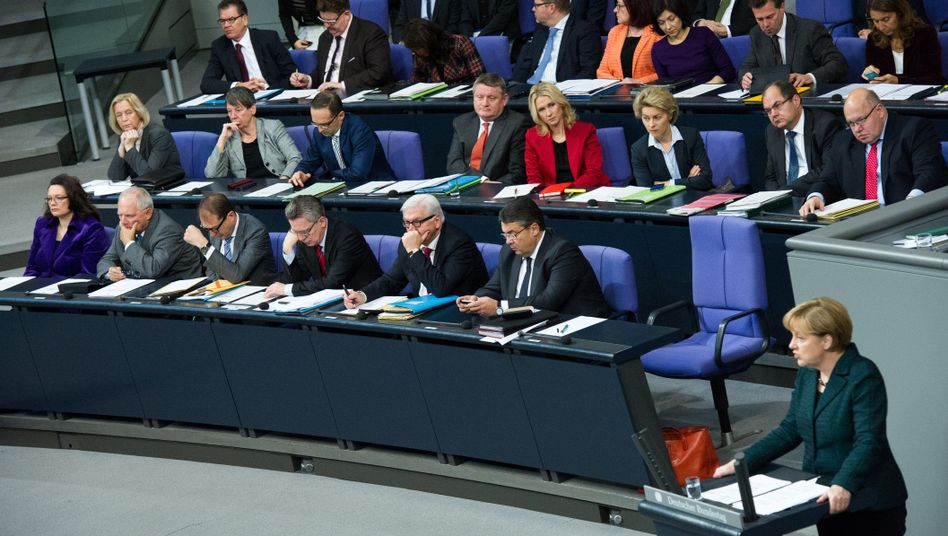 Regierungsbank im Bundestag