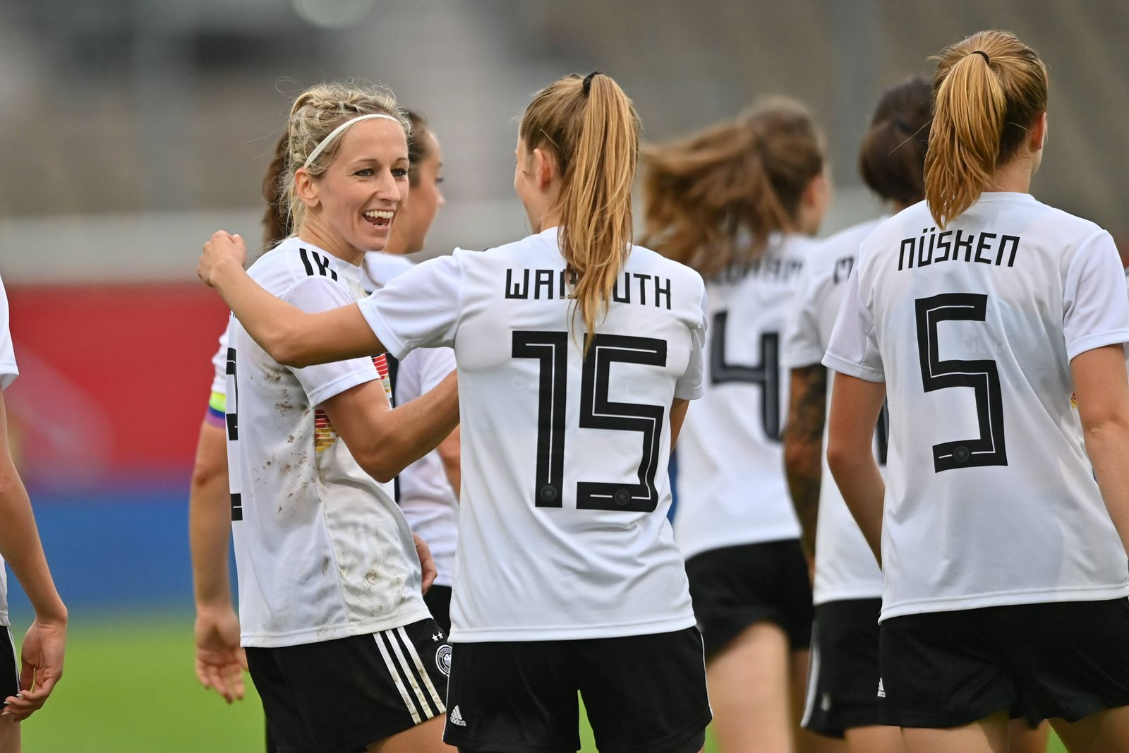 Jubel, Freuen, celebrate, happy, cheer , Goal Celebration DFB Frauen 4:0, 9/18/2021, Cottbus (Deutschland), Fussball, W