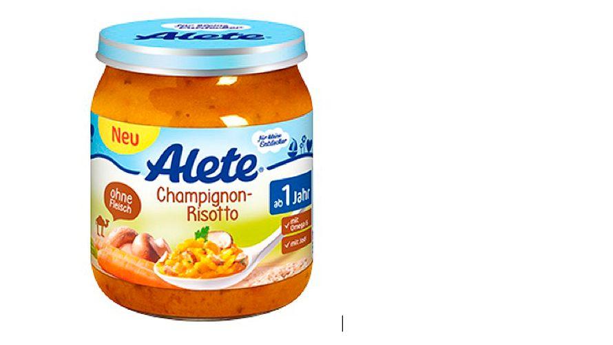 Alete Champignon-Risotto: Mit genannten Haltbarkeitsdaten nicht verwenden