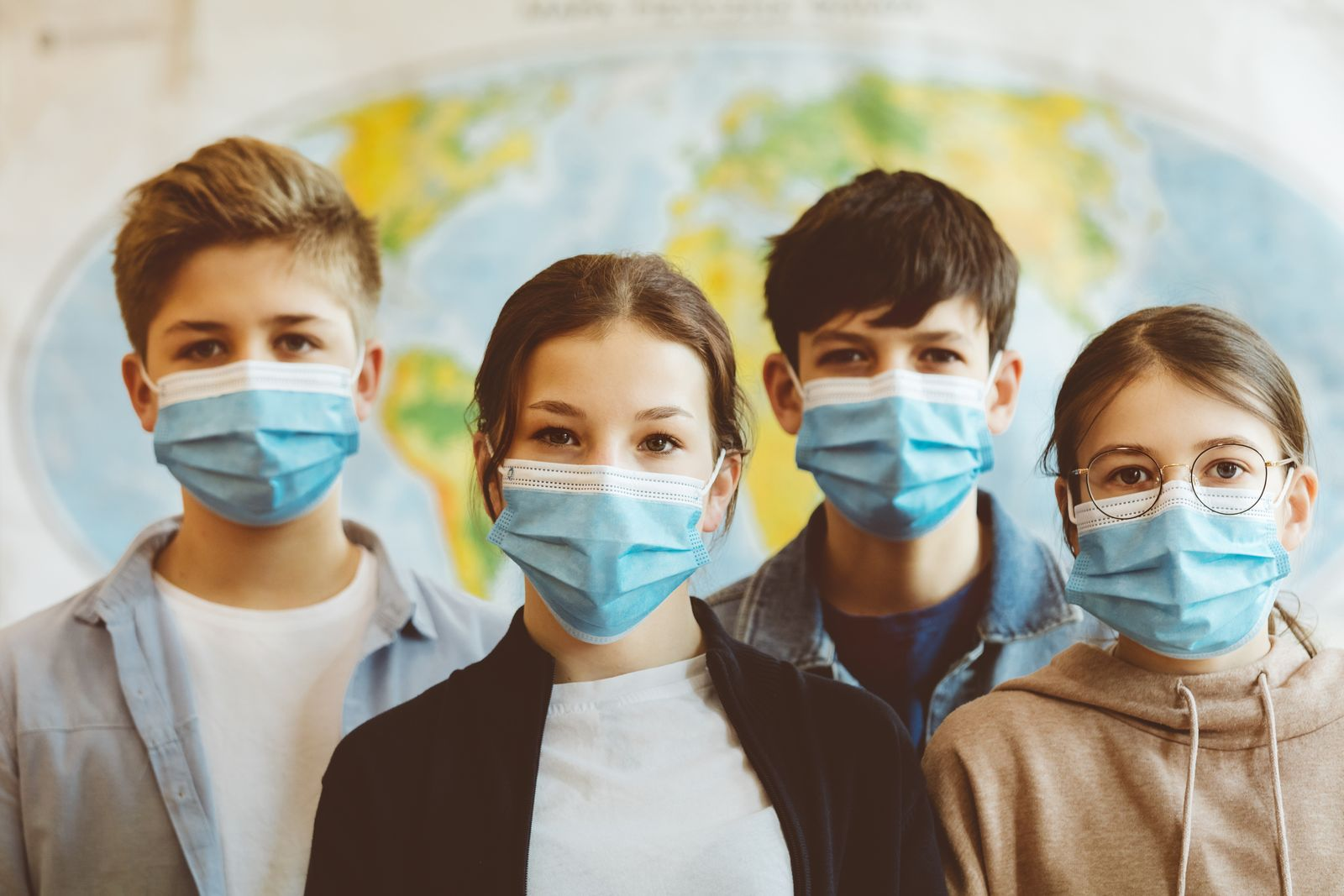 Group of high school students at school, wearing N95 Face masks.