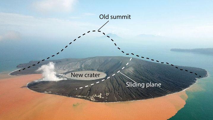 Drohnenbild des Vulkans: Der Berg hat mehr als 300 Höhenmeter verloren