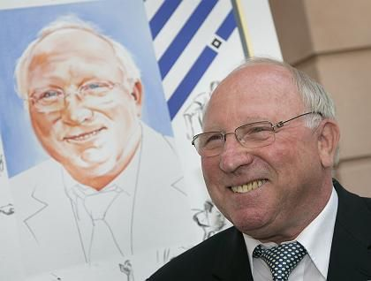 Uwe Seeler, one of the world's most gifted football strikers in the 1960s and 1970s, celebrates his entry into Germany's sporting Hall of Fame.