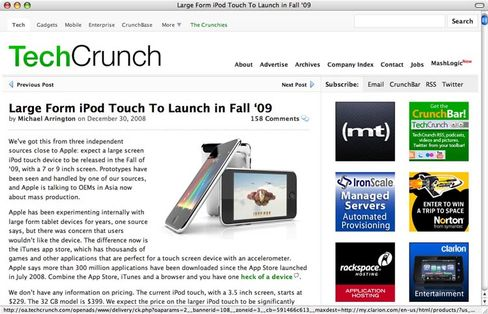 Techcrunch-Screenshot: Riesen-Ipod im Herbst?