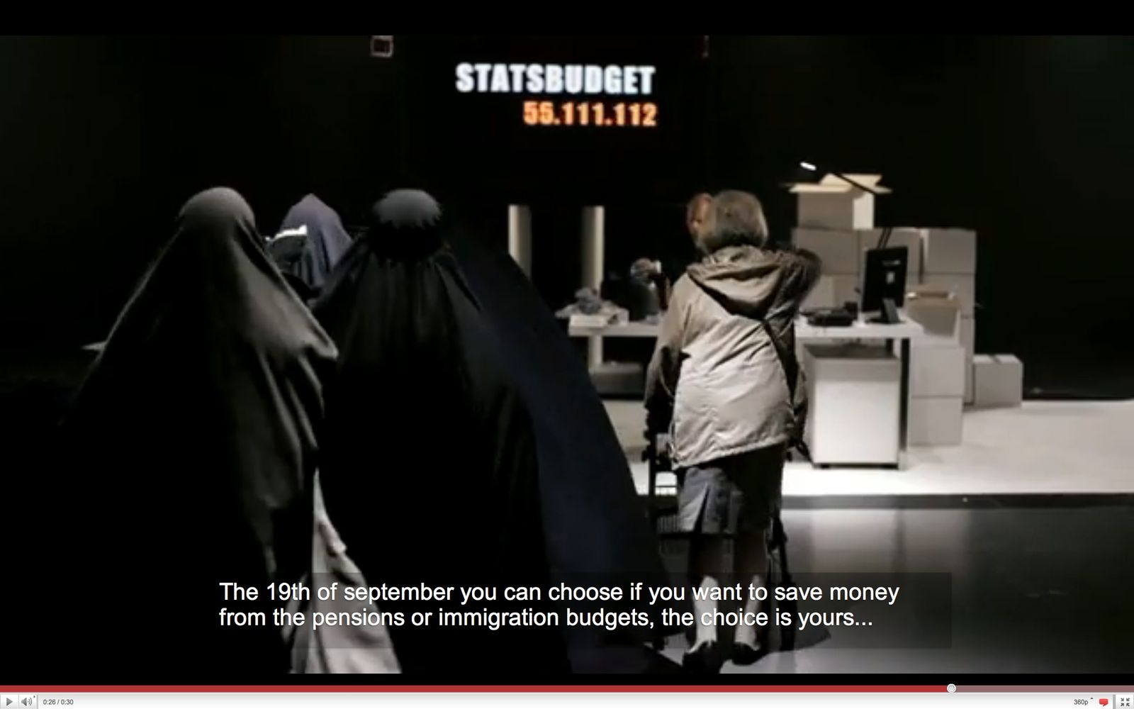 EINMALIGE VERWENDUNG NUR ALS ZITAT Screenshot Youtube / Schwedendemokraten / Sweden Democrats