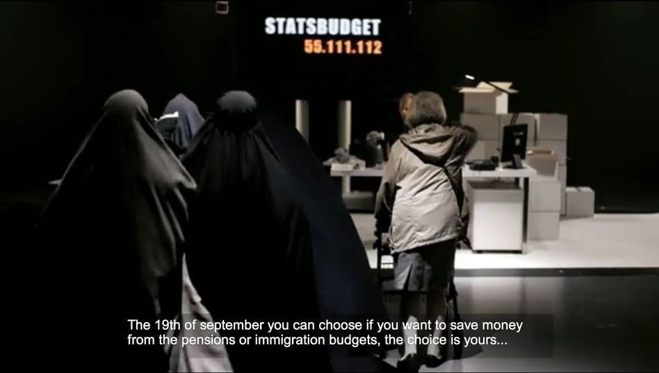 The Sweden Democrats' ad shows a retiree hobbling forward while Muslim women in burqas charge past to win money from the national budget.