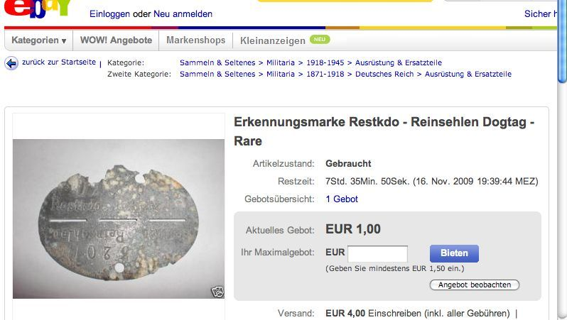 Erkennungsmarke bei Ebay: Verräterische Korrosion an der Oberfläche