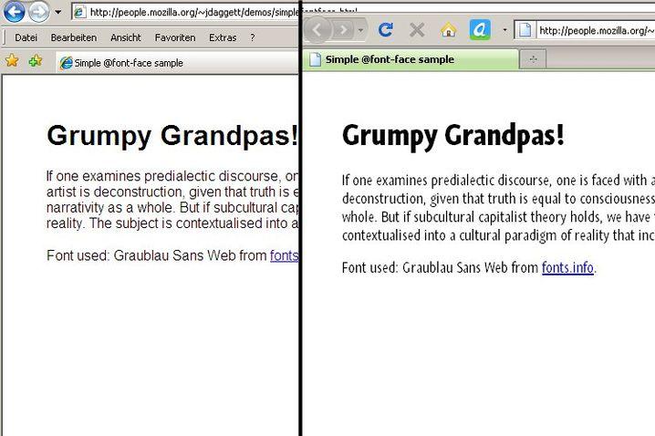 Nachladbare Schriften: Firefox 3.5 kann auch nicht standardkonforme Fonts anzeigen, so wie in diesem Beispiel die Graublau Sans Web. Links im Bild ist zum Vergleich zu sehen, wie Microsofts Internet Explorer 7 die Schrift durch einen Standardschnitt ersetzt