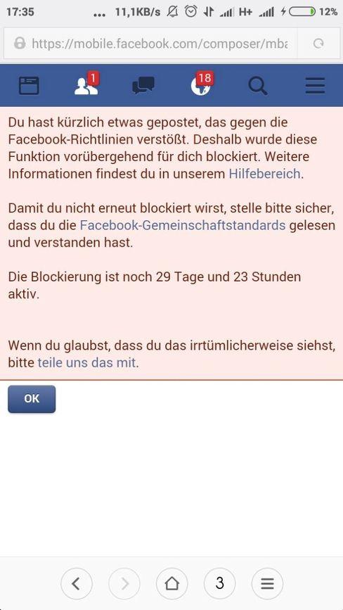 """Sperrbenachrichtigung: """"Vorübergehend für dich blockiert"""""""