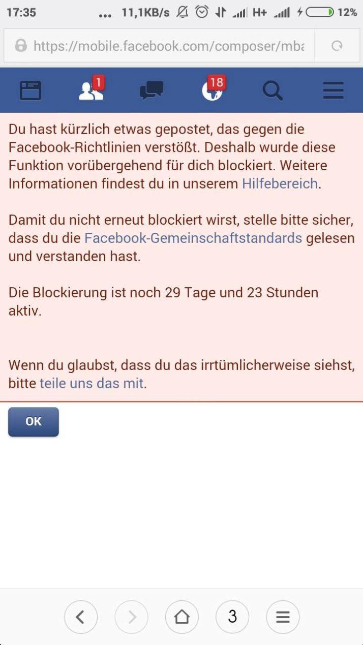 EINMALIGE VERWENDUNG NUR ALS ZITAT Screenshot Facebook Meldekrieg