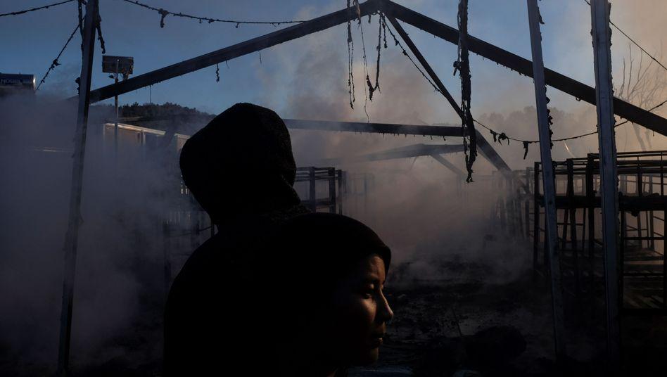 Flüchtlinge im Lager auf Lesbos, Griechenland
