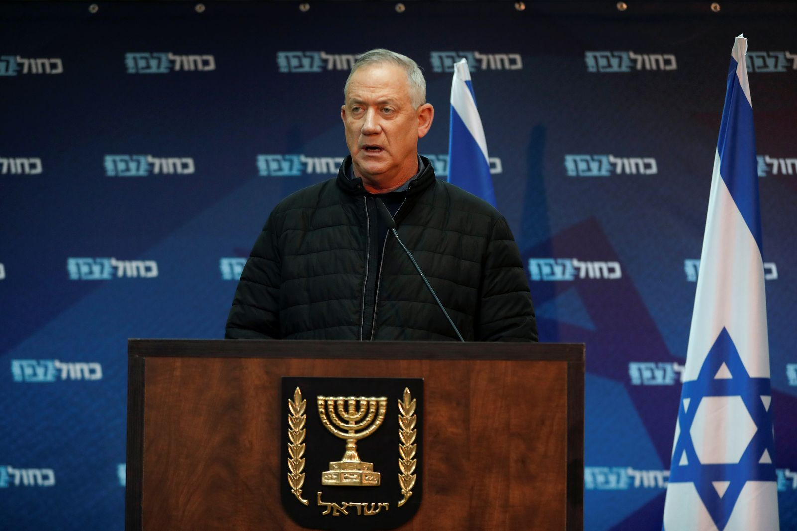 Benny Gantz, leader of Blue and White party delivers a statement on the cross-border violence with Gaza, in Sha'ar HaNegev
