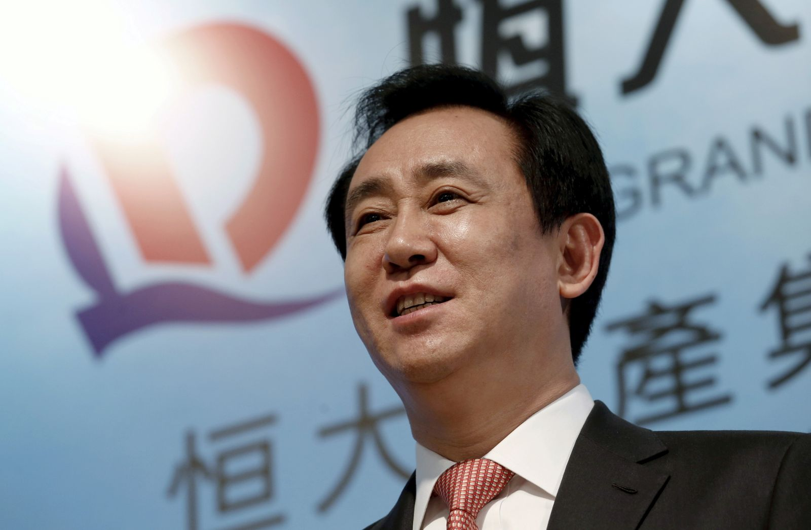 FILE PHOTO: Hui Ka Yan, chairman of Evergrande Real Estate Group Ltd, attends a news conference on annual results in Hong Kong