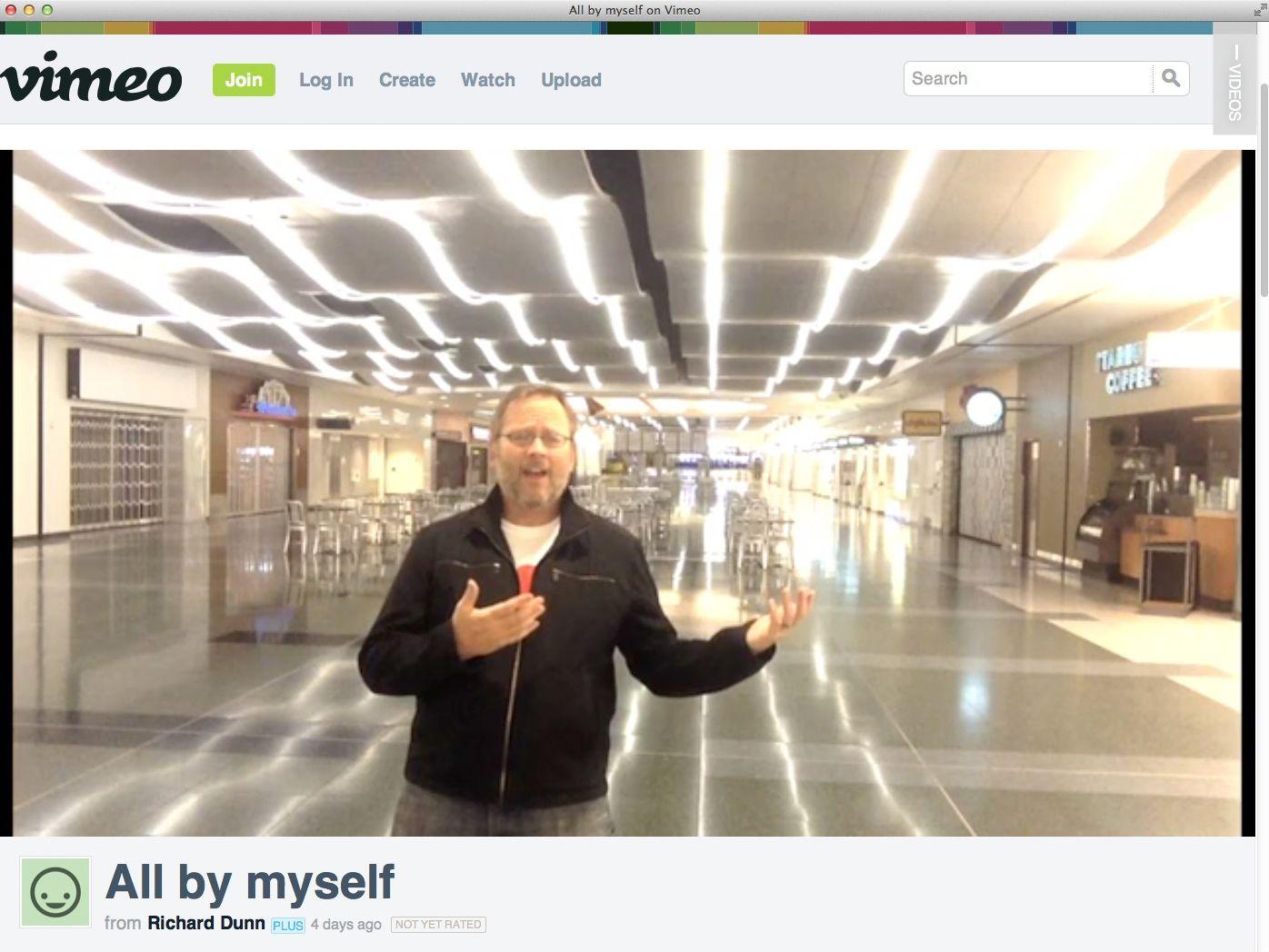 EINMALIGE VERWENDUNG NUR ALS ZITAT/ Screenshot Video: All by myself/ Richard Dunn