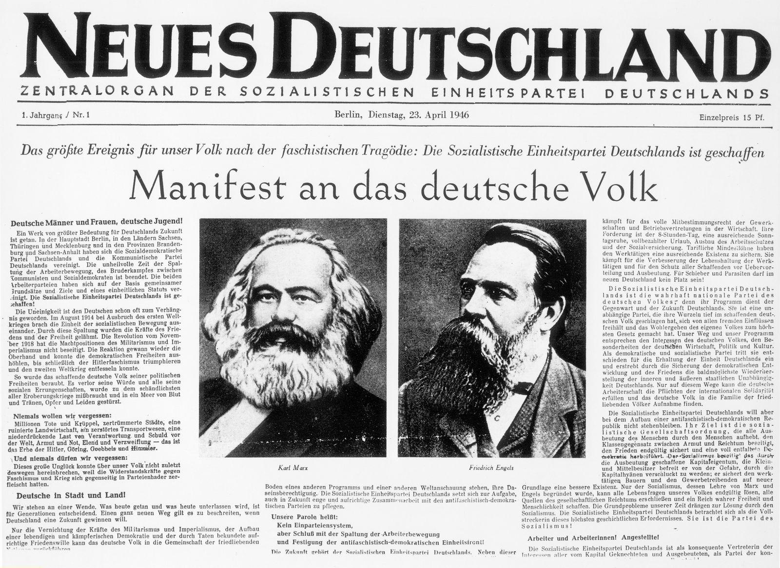 Zeitungen DDR: Gruendung SED