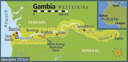 500 Kilometer lang undhöchstens 65 Kilometer breit: Gambia schmiegt sich an den Gambia-Fluss in Westafrika