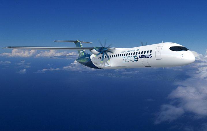 Und so könnte ein mit Wasserstoff angetriebener Airbus-Regionalflieger aussehen