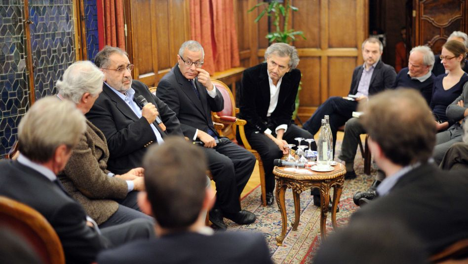 French philosopher Bernard-Henri Lévy at a press conference with Libyan representatives on March 22.