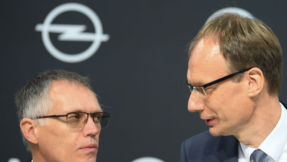 PSA-Chef Carlos Tavares Opel-Chef Michael Lohscheller