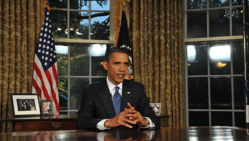 US President Barack Obama speaking from the Oval Office on Tuesday.