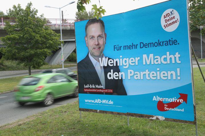 AfD-Wahlplakat in Schwerin